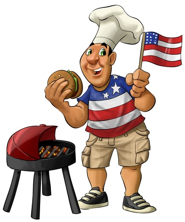 fat guy eating a hamburguer with usa shirt and flag