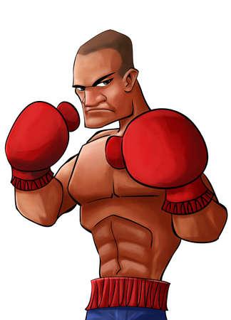 pugilist: enojado y fuerte p�gil tratando de golpear a su oponente