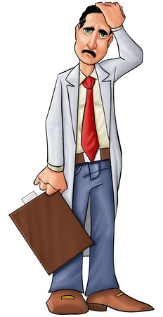 hospital stress: concerned doctor thinking about some problems or medical problems