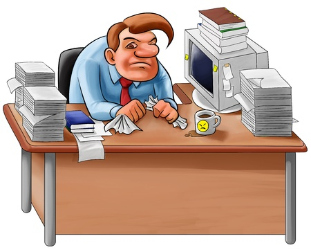 worker overworked sit in a desk with too many jobs to do photo