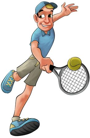 backhand: tennis player running to hit the ball in backhand
