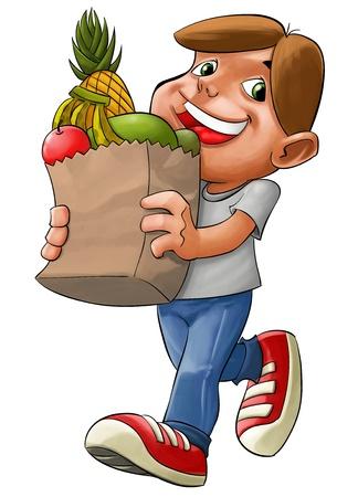 abarrotes: ni�o con un saco con algunos productos de supermercado