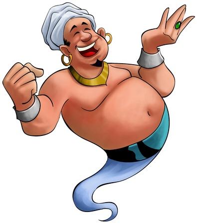 genio de la lampara: cara feliz genio de grasa en el momento cuando aparece