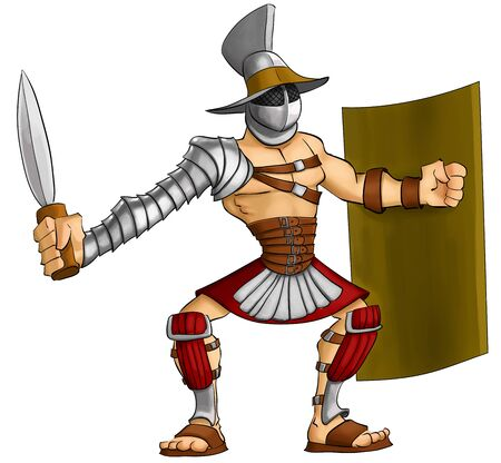 gladius: gladiator ready to fight with his gladius and shield
