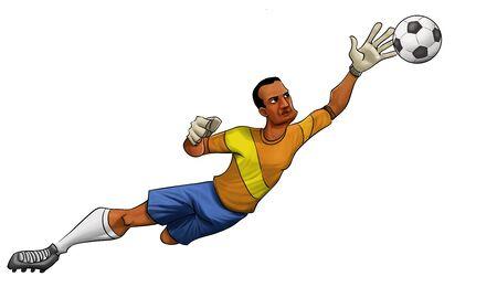 arquero: Portero saltar para atrapar la bola ingenio una mano