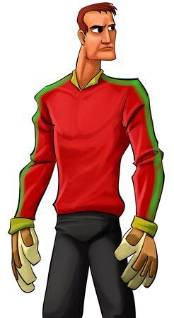 poseedor de altura objetivo con un stand de camisa roja, a la espera de la bola Foto de archivo - 9022510