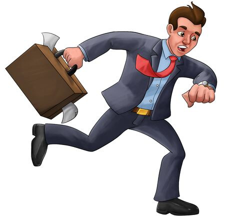 running late: executive in a hurry late for his appointment with a mess suitcase Stock Photo