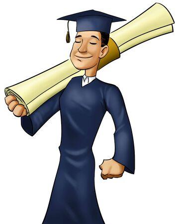 boy marching with a giant diploma in his hand photo