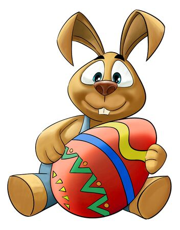 happy rabbit with a big colored easter egg Stock Photo - 9022484