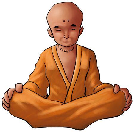 moine: méditation jeune moine en position assise, portant une robe Banque d'images