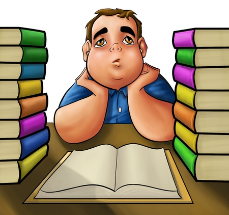 hard look: young fat boy with a pile of book to read Stock Photo