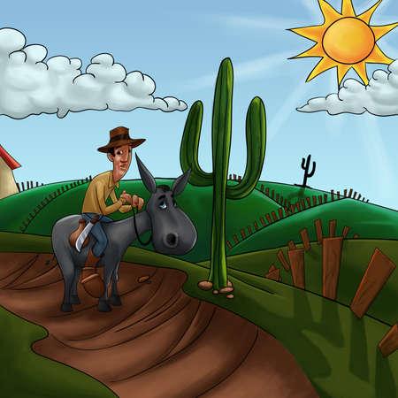 peasant: farmer riding his donkey walking to the farm