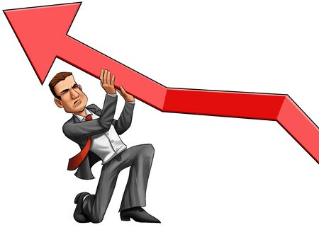busyness: executive doing a big enforcement to rise the busyness arrow Stock Photo