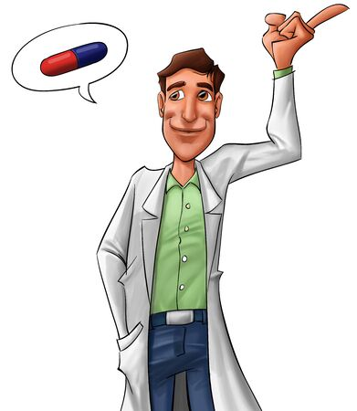doctor with pills: young medic advising about medicine, he looks happy