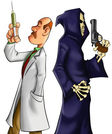 doctor cartoon: medic and death dueling for the life