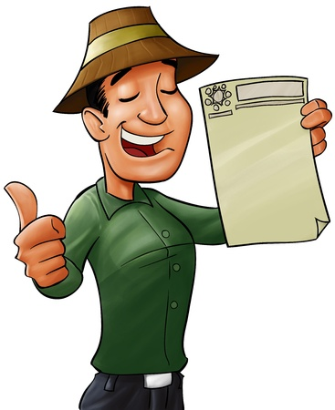 worker smiling and showing a document to prove he have got a certification Stock Photo - 9386308