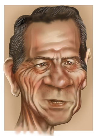 jones: Painted detailed caricature from the movie actor tommy lee jones Stock Photo