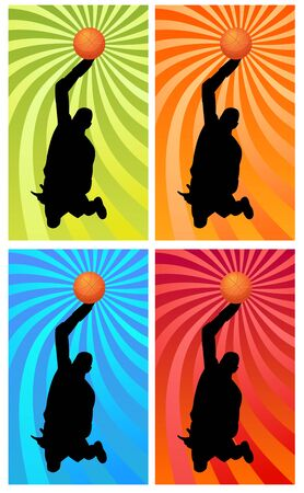 silhouette of a basketball player jumping to the basket photo