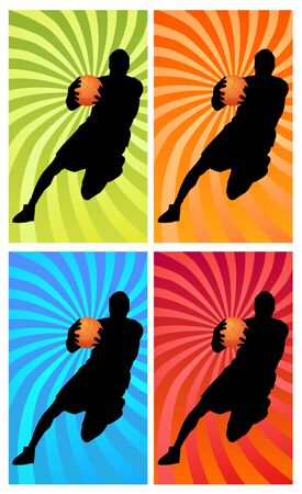silhouette of a basketball player running with the ball photo