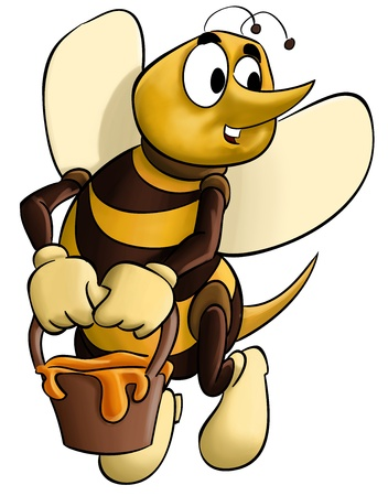 honey pot: bee with a pot in its hand flying to home Stock Photo