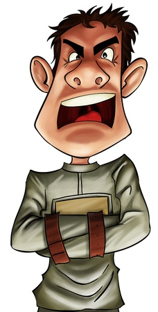 psycho social: crazy boy very angry wearing with a straitjacket Stock Photo