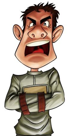 insanity: ni�o loco muy enojado con una camisa de fuerza
