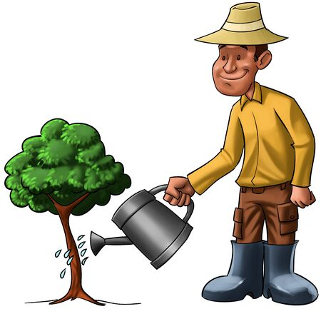 manual job: farmer sprinkling a young tree, he is very happy