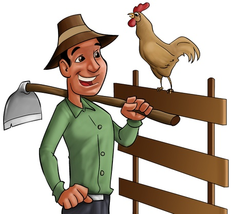 farmer going to worker earling in the morning with the cock singing photo
