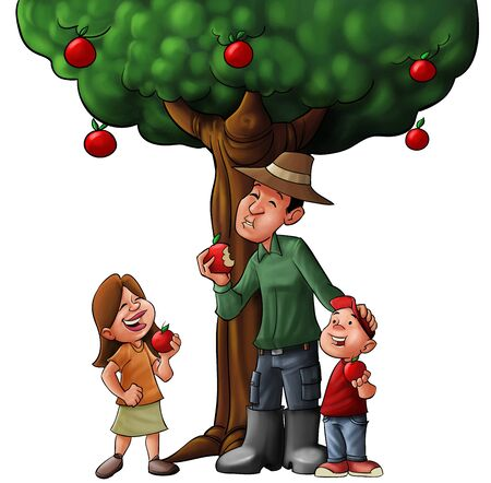 children eating fruit: family eating some fuits under the tree