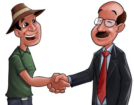 buen trato: agricultores y un empresario estrecharme la mano despu�s de un buen trato