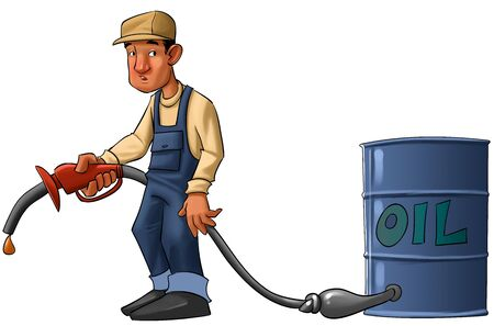fuel economy: gas station worker with a pump without gas, just a drop