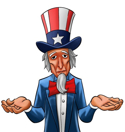 stereotype: Uncle sam painted, he looks not so happy Stock Photo