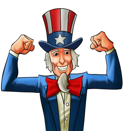 got: uncle sam very happy, he got his fists up