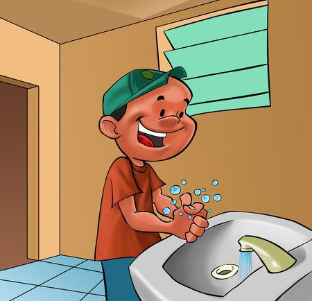 smiling boy washing his hands in a bath room Stock Photo - 9741566