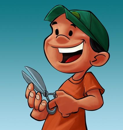 nail scissors: boy with a scissor cutting his nail