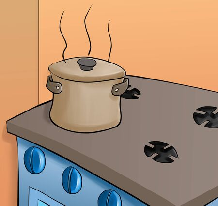 stove top: pot in a top of the stove, it is very hot