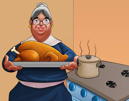 grand mother with a big roasted turkey in the kitchen photo