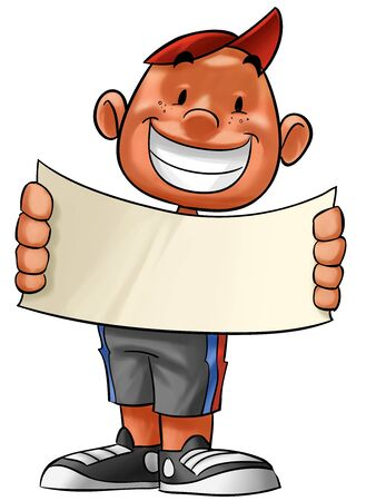 child holding sign: little boy with a big plank in his hands, he smiling Stock Photo