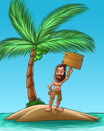 exile: castaway with a big beard holding a wood plank