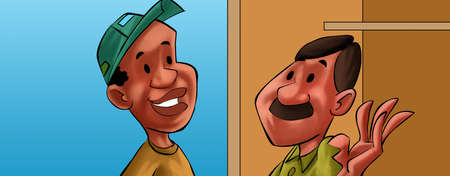 two men talking: two men talking, afro and caucasian man, they seems to be friend Stock Photo