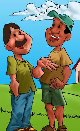 two friends talking: two friends talking a small town landscape