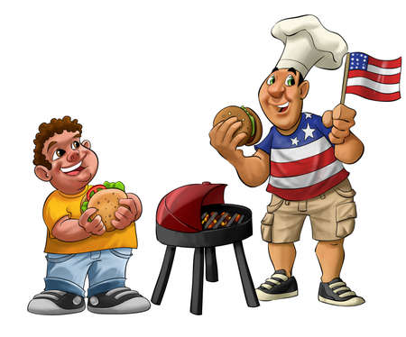 fat guy eating a hamburger with usa shirt and flag  Stock Photo - 9741570