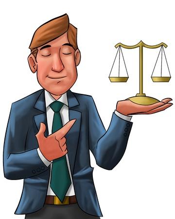 order in the court: abogado con los ojos cerrados con una escala