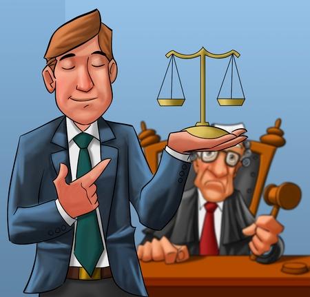 orden judicial: abogado en primer plano con un juez en segundo plano Foto de archivo