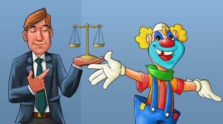 clown smiling and a lawyer with his eyes closed behind him photo