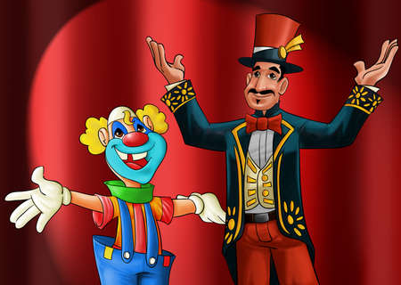 entertainer and a clown smiling to start the show photo