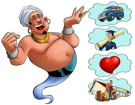 happy fat genie smiley in the moment when he appears Stock Photo - 9741582
