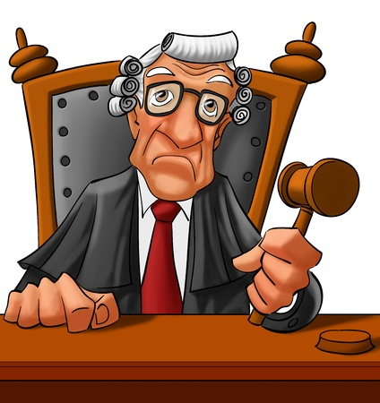 court judge: old judge looking very serious almost to going a get a vere dict