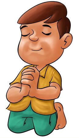 little boy praying his eyes are closed photo