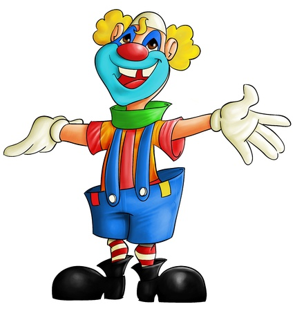 arms open: multi color clown smiling with his arms open